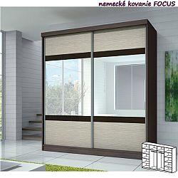 TEMPO KONDELA Dvojdverová skriňa, 233x218, s posuvnými dverami, dub cambridge/drevo kubánske/zrkadlo/čierne sklo, MULTI 3