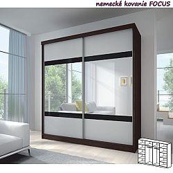 TEMPO KONDELA Dvojdverová skriňa, 233x218, s posuvnými dverami, kubánske drevo/biela, čierne sklo/zrkadlo, MULTI 2