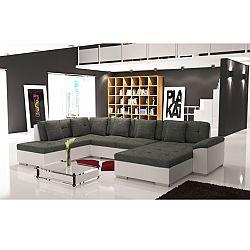 TEMPO KONDELA Elegantná sedacia súprava v tvare U, ľavé prevedenie, ekokoža biela / šenil Berlin 01, ALMA