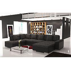 TEMPO KONDELA Elegantná sedacia súprava v tvare U, ľavé prevedenie, ekokoža čierna / šenil Berlin 02, ALMA