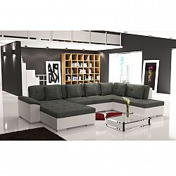 TEMPO KONDELA Elegantná sedacia súprava v tvare U, pravé prevedenie, ekokoža biela / šenil Berlin 01, ALMA