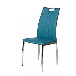 TEMPO KONDELA Jedálenská stolička, chróm/ekokoža modrá petrolejová, OLIVA