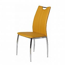 TEMPO KONDELA Jedálenská stolička, chróm/ekokoža žltá kari, OLIVA