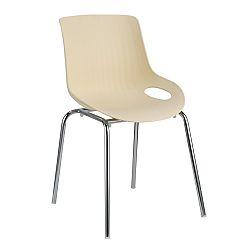 TEMPO KONDELA Jedálenská stolička, chróm + plast, béžová, EDLIN