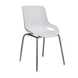 TEMPO KONDELA Jedálenská stolička, chróm + plast, biela, EDLIN