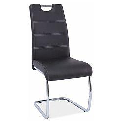 TEMPO KONDELA Jedálenská stolička, ekokoža čierna/chróm, ABIRA
