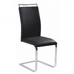 TEMPO KONDELA Jedálenská stolička, ekokoža čierna/chróm, BARNA