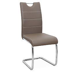 TEMPO KONDELA Jedálenská stolička, ekokoža hnedá/chróm, ABIRA