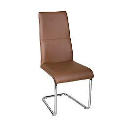 TEMPO KONDELA Jedálenská stolička, ekokoža hnedá/chróm, BETINA