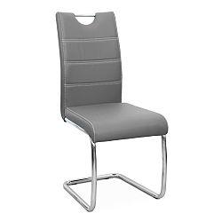 TEMPO KONDELA Jedálenská stolička, ekokoža svetlo sivá/chróm, ABIRA