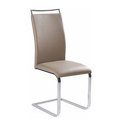 TEMPO KONDELA Jedálenská stolička, ekokoža svetlohnedá/chróm, BARNA