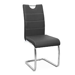 TEMPO KONDELA Jedálenská stolička, ekokoža tmavo sivá/chróm, ABIRA