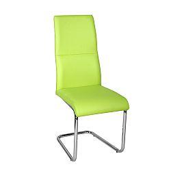 TEMPO KONDELA Jedálenská stolička, ekokoža zelená/chróm, BETINA