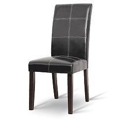 TEMPO KONDELA Jedálenská stolička, tmavý orech/ekokoža čierna, RORY