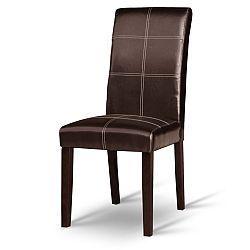 TEMPO KONDELA Jedálenská stolička, tmavý orech/ekokoža tmavo hnedá, RORY