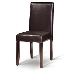 TEMPO KONDELA Jedálenská stolička, tmavý orech/ekokoža tmavo hnedá, VIVA