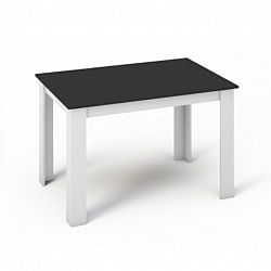 TEMPO KONDELA Jedálenský stôl 120x80, DTD laminovaná/ABS hrany, Biela/Čierna, KRAZ