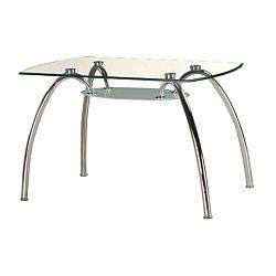 TEMPO KONDELA Jedálenský stôl, chróm/sklo, STEVE T-649