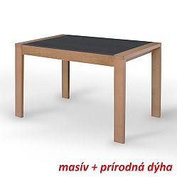 TEMPO KONDELA Jedálenský stôl, rozkladací, dub/čierne sklo, JANADAN