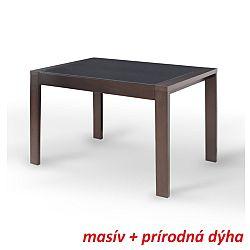 TEMPO KONDELA Jedálenský stôl, rozkladací, orech/čierne sklo, JANADAN