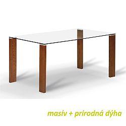 TEMPO KONDELA Jedálenský stôl, s tvrdeným sklom 12 mm, čerešňa, NEMEZ