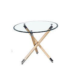 TEMPO KONDELA Jedálenský stôl. sklo+buk, ROBSON
