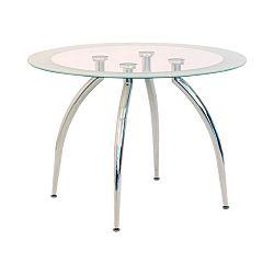 TEMPO KONDELA Jedálenský stôl, sklo/chróm, ZIAN - NEW