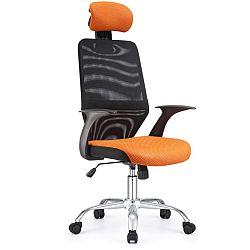 TEMPO KONDELA Kancelárska stolička, čierna/oranžová REYES