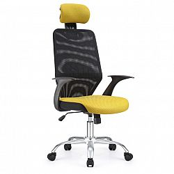 TEMPO KONDELA Kancelárska stolička, čierna/žltá REYES