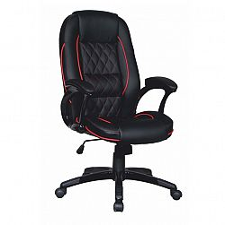 TEMPO KONDELA Kancelárska stolička, ekokoža čierna/červený lem, PORSHE