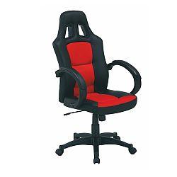 TEMPO KONDELA Kancelárska stolička, ekokoža čierna/ekokoža červená, HERALD