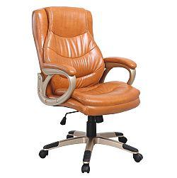 TEMPO KONDELA Kancelárska stolička, ekokoža hnedá, LANDER