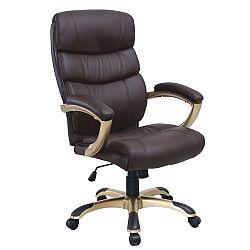 TEMPO KONDELA Kancelárska stolička, ekokoža hnedá/plast, GORDON