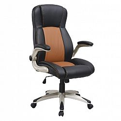 TEMPO KONDELA Kancelárska stolička, ekokoža svetlo hnedá+čierna/plast, KNOX