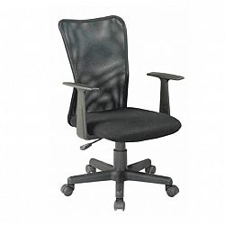 TEMPO KONDELA Kancelárska stolička, látka čierna+čierna sieťka, REMO