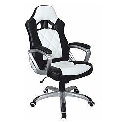 TEMPO KONDELA Kancelárske kreslo, ekokoža čierna/ekokoža biela, LOTAR