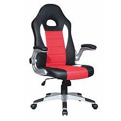 TEMPO KONDELA Kancelárske kreslo, ekokoža čierna/ekokoža červená, MARVIN