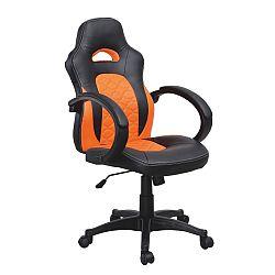 TEMPO KONDELA Kancelárske kreslo, ekokoža čierna/ekokoža oranžová, NELSON