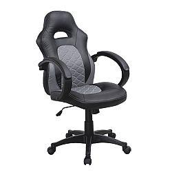 TEMPO KONDELA Kancelárske kreslo, ekokoža čierna/ekokoža sivá, NELSON