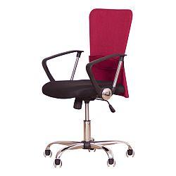 TEMPO KONDELA Kancelárske kreslo s čiernym sedákom, červená opierka, AEX