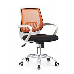 TEMPO KONDELA Kancelárske kreslo s čiernym sedákom, oranžová opierka, LANCELOT