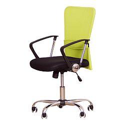 TEMPO KONDELA Kancelárske kreslo, s čiernym sedákom, zelená opierka, AEX