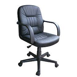 TEMPO KONDELA Kancelárske kreslo, split koža + ekokoža, čierna, PAUL - NEW