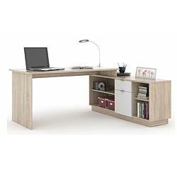 TEMPO KONDELA Kancelársky stôl, dub sonoma/biela, DALTON