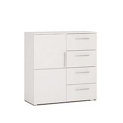 TEMPO KONDELA Komoda, 1 dverová so 4 zásuvkami, biela, PUNTO NEW 02