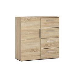TEMPO KONDELA Komoda, 1 dverová, so 4 zásuvkami, dub sonoma, PUNTO NEW 2