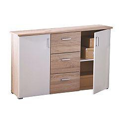 TEMPO KONDELA Komoda, 2 dverová s 3 zásuvkami, dub/biela, SVIT B