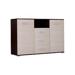 TEMPO KONDELA Komoda, 2 dverová s 3 zásuvkami, dub tmavý/drevo kubánske, NAPOLI 135