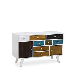 TEMPO KONDELA Komoda, 8x zásuvky a 2x dvierka, biela / mix farieb, FELINE 7461