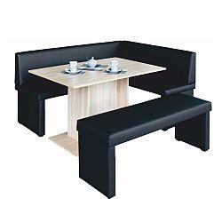 TEMPO KONDELA komplet rohová lavica+stol+lavica ekokoža čierna, P - prevedenie, MODERN